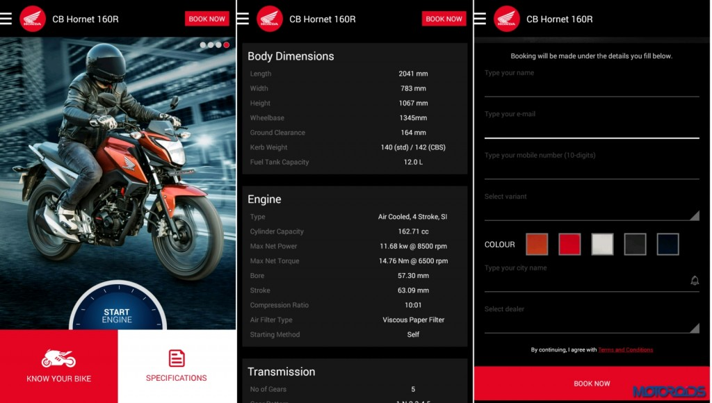 CB Hornet 160R app available on Google PlayStore