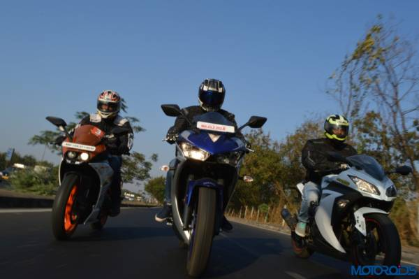 Yamaha R3 vs RC390 vs Ninja 300 Shootout (49)