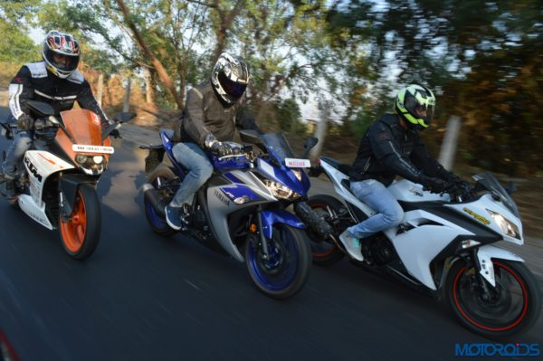 Yamaha R3 vs RC390 vs Ninja 300 Shootout (52)