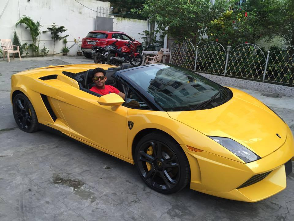 Ambia Sohrab with his lamborghini