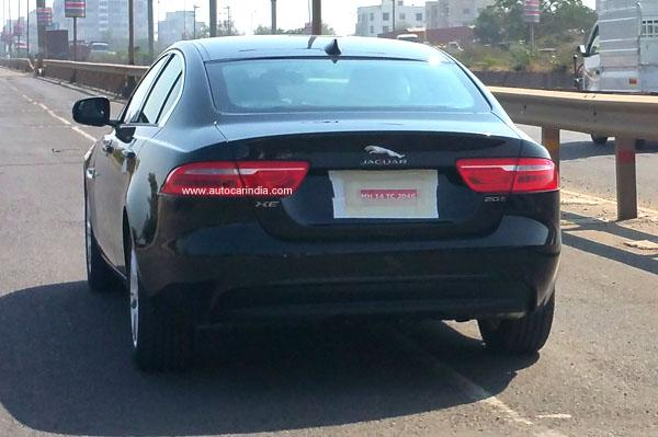 JAguar XE spied in India- rear view