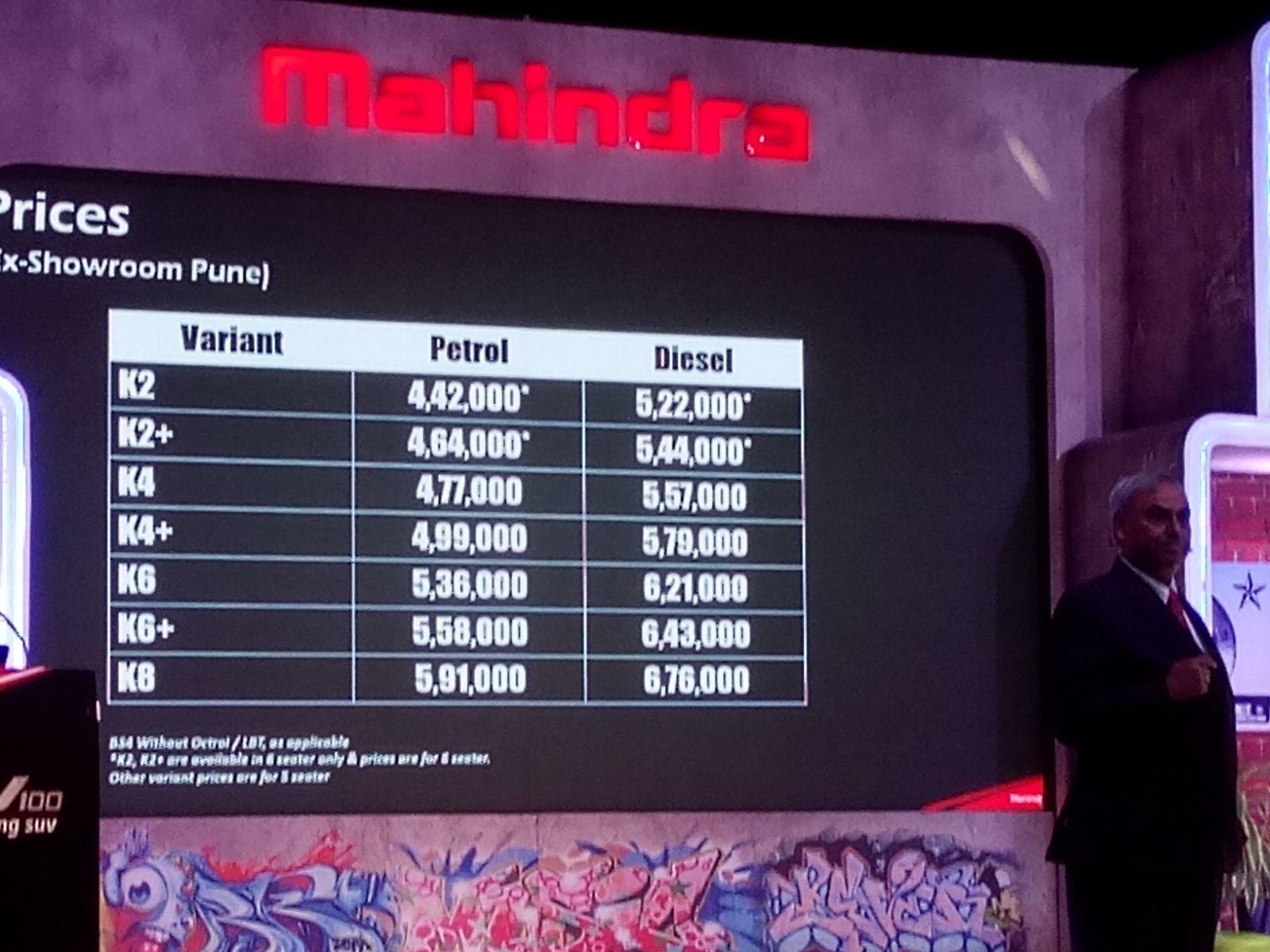 Mahindra KUV 1000 price