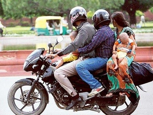 Pillions riding without helmets