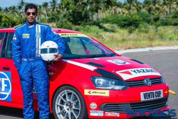 Pradeep Rao with his Vento Cup race car