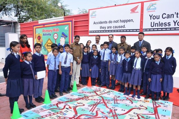 School Children Participating in fun activity to lean Road Safety education at RSEC, Indore