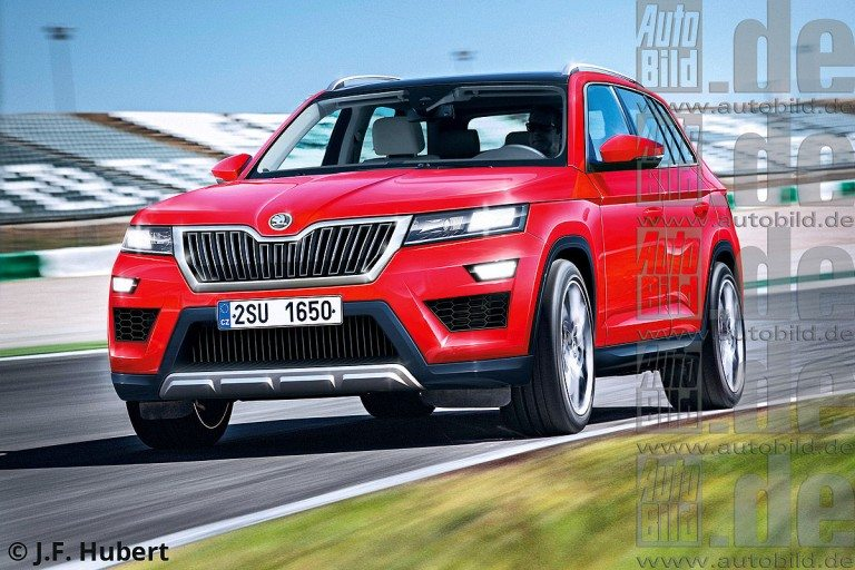 Skoda Kodiak front fascia rendered, to be unveiled at the ...