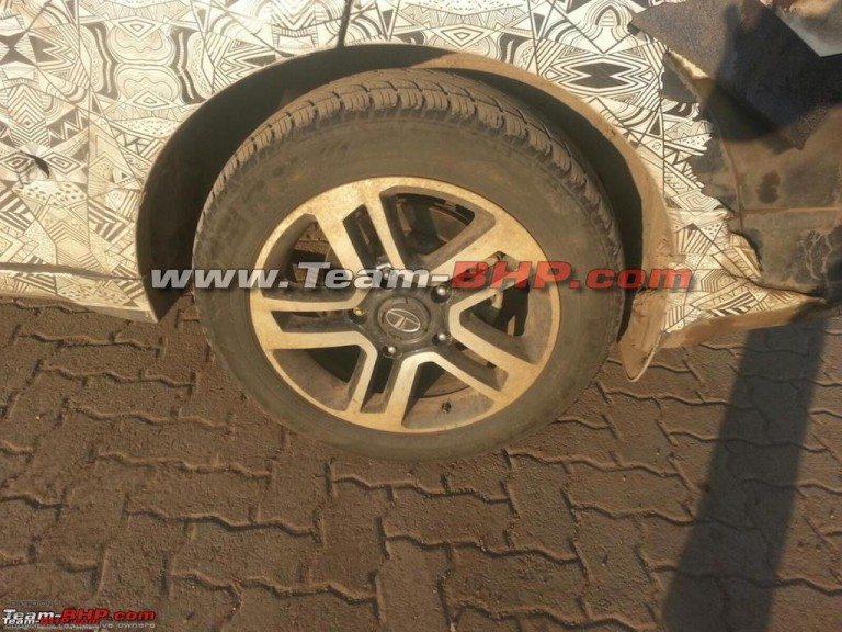 Tata Hexa spy image alloy wheels