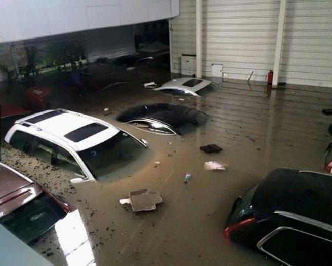 Volvo showroom submerges chennai