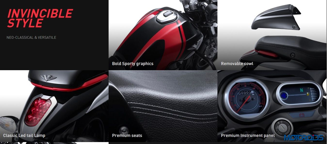 Bajaj V - Official Details and Images - Styling