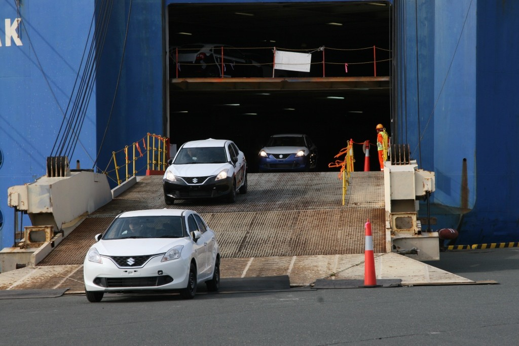 The Made in India Suzuki Baleno gets unloaded at Toyohashi Port Japan