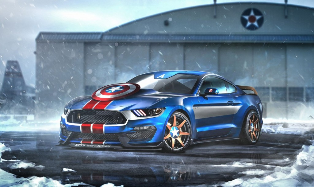 Captain America Ford Mustang Shelby GT350R Superhero