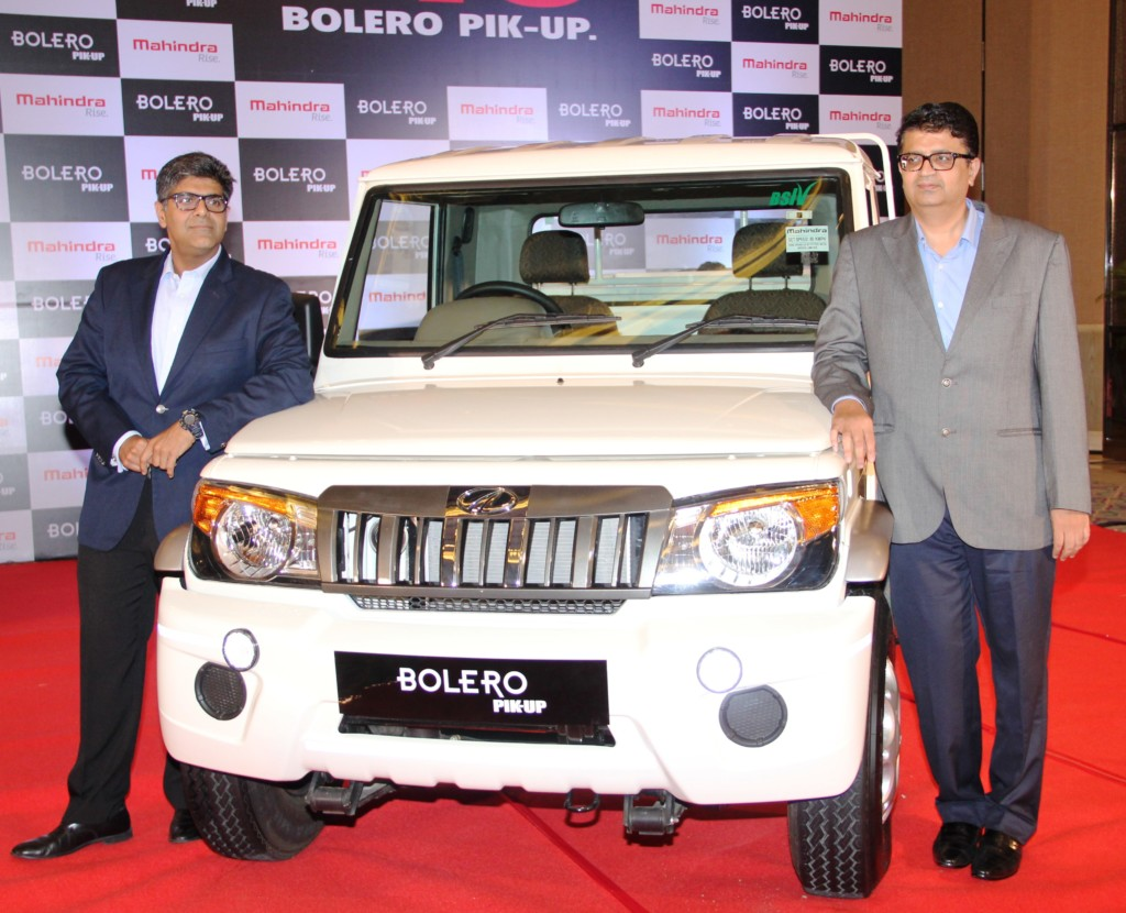 Mr. Veejay Ram Nakra, Senior VP, Sales and Customer Care, Automotive Division, M&M Ltd with Mr. Mahesh Kulkarni - VP, Marketing, M&M Ltd at the launch of Bolero Pik Up in Pune today