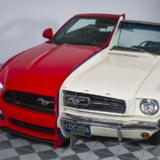 Ford Mustang side by side 1965 2015 3 180x180 Ford fuses 50 years of history by combining a 1965 Mustang with the 2015 model