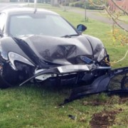 McLaren 650S crash 1 180x180 England: Ten minutes into ownership, man rams his McLaren 650S into a tree