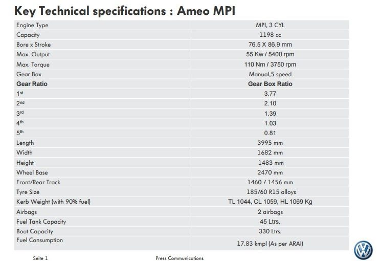 Ameo Specifications