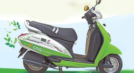 Government's pilot project fuels two-wheelers by CNG