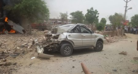 MiG fighter plane crashes into a Tata Safari (1)