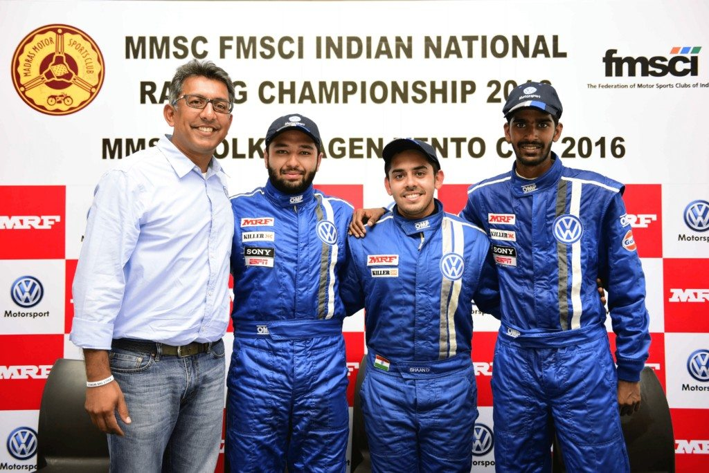 (L-R)Sirish Vissa, Head of Volkswagen Motorsport India, Karminder Pal Singh, Ishaan Dodhiwala and Keith Desouza