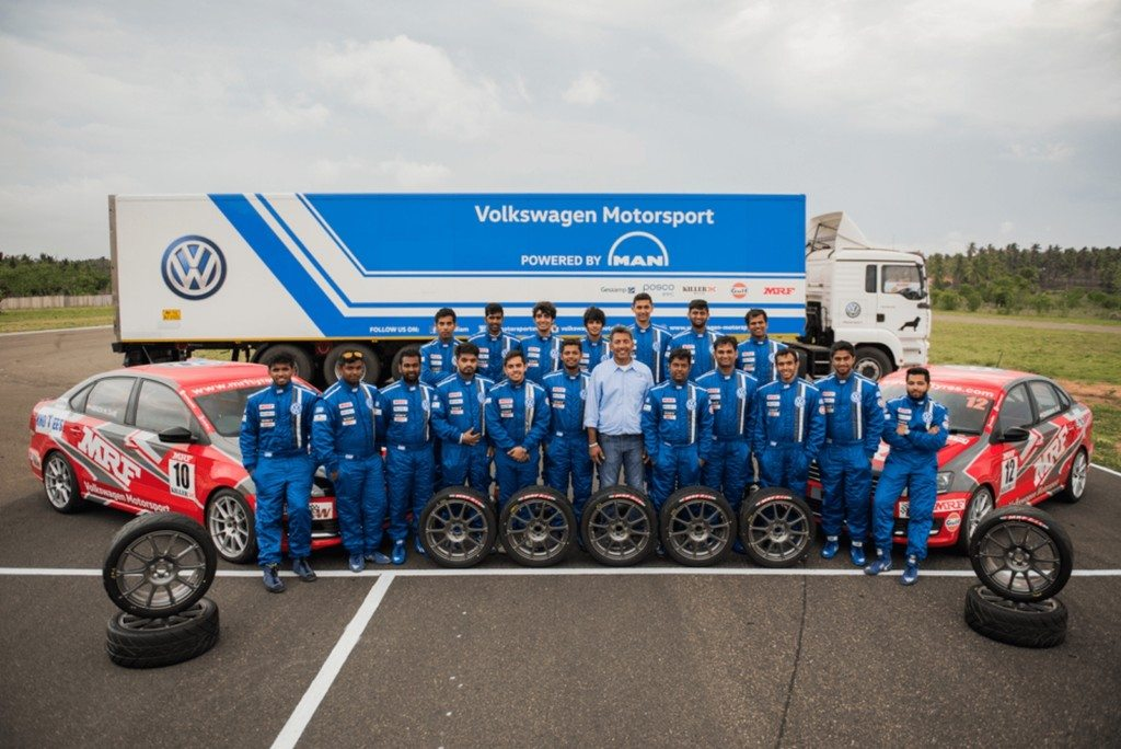 Sirish Vissa, Head of Volkswagen Motorsports with all the racers of the ...
