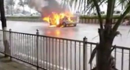 Mumbai: CNG powered car catches fire near Haji Ali, disrupts traffic