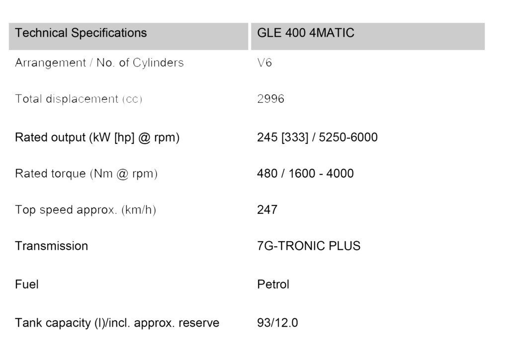 GLE 400 4Matic Technical Specificarions
