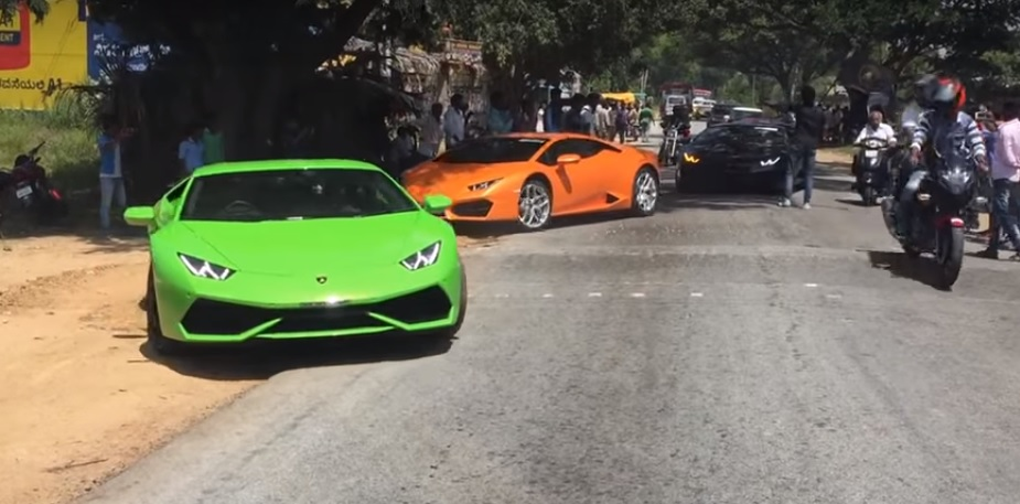 Only In India Watch These Lamborghini Super Cars Go Off Road To