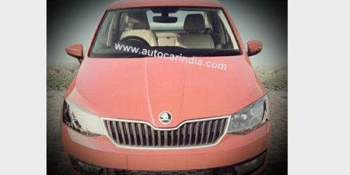 Skoda Rapid facelift 500x250 Skoda Rapid facelift caught undisguised; looks like the new Fabia that never came to India