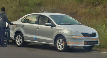 New Skoda Rapid facelift shows its new grille in latest spy shots