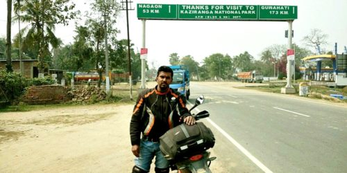 Souvig Sarkar 53 kms to Nagaon 500x250 4,116 km in 107 hours : Souvig Sarkar Creates New East   West Landspeed Record For India