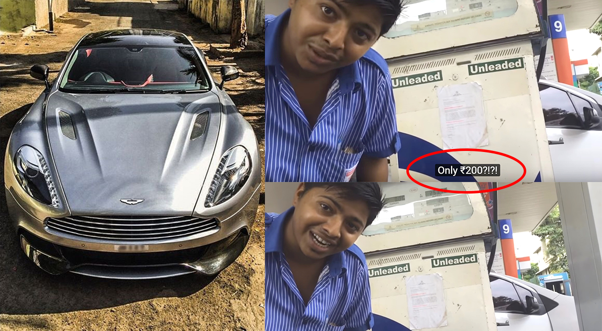 video: guys fill just inr 200 worth of petrol in aston martin