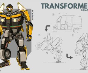 Transformers India Project Anirudh Singh Shekhawat 7 300x250 Indian Artist Creates Transformers Illustrations Out Of Everyday Indian Vehicles