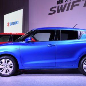 New 2017 Suzuki Swift Blue side front view and wheels