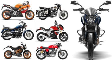Bajaj Dominar 400 vs Honda CBR 250 vs Benelli TNT 25 vs Mahindra Mojo vs TVS BMW G310 vs KTM Duke 390/RC 390 vs all the Royal Enfield Classic/Thunderbird/Continental GT Specs Comparo