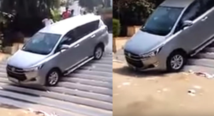 VIDEO: Watch This Toyota Innova Crysta Get Stuck While Driving Down A Flight Of Stairs