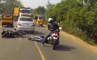 Watch This TVS Apache Riders Crazy Reflexes Save His Fellow Riders Life 320x200 VIDEO: Watch This TVS Apache Riders Crazy Reflexes Save His Fellow Riders Life