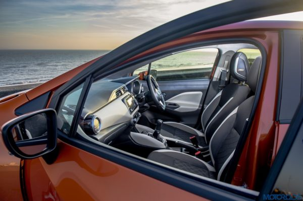 The New Nissan Micra mirror and front seats