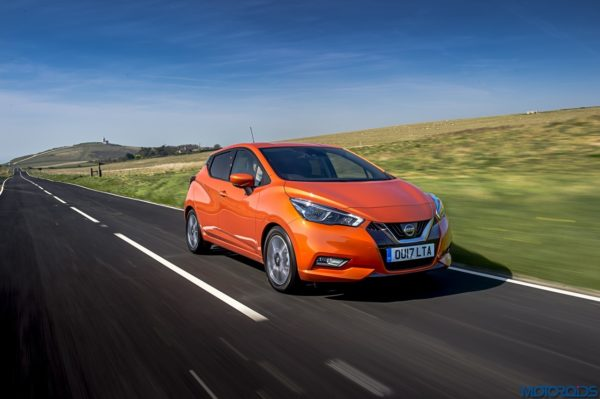 The New Nissan Micra Fron Side View on road