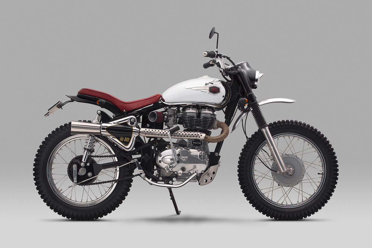 custom made royal enfield bullet 350 ak a the moltar adds bling to off roading motoroids. Black Bedroom Furniture Sets. Home Design Ideas
