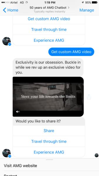 Mercedes-Benz Facebook Messenger AMG Chatbot