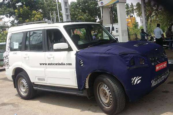 Spotted Upcoming Mahindra Scorpio facelift Front Side View