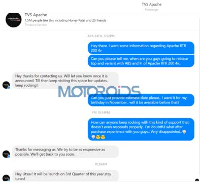 conversation with the TVS Apache RTR 200 official Facebook page