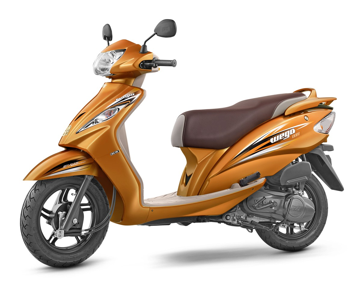 TVS WEGO is India's first ever scooter with a body balancing technology. The scooter comes with telescopic front shock absorbers, a digital speedometer and ...