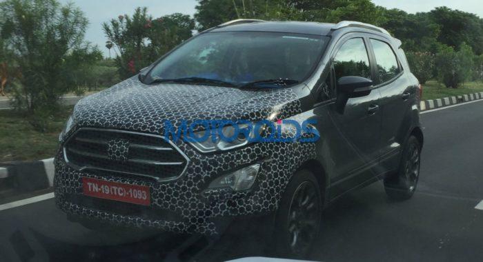 2017 Ford EcoSport facelift spied testing black top end variant