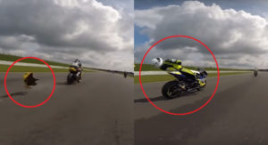 Motorcycle Bellypan Breaks On Track, Hits Another Rider At Over 225 KPH