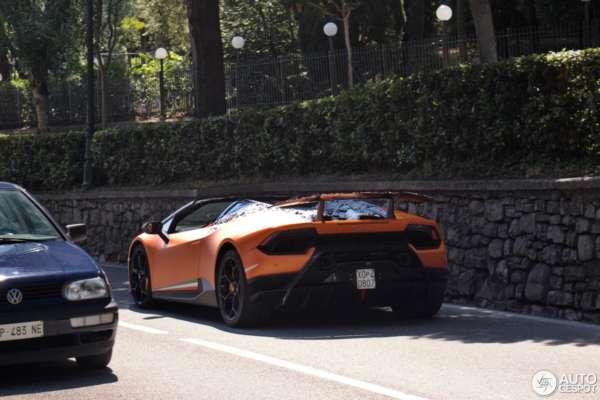 Lamborghini Huracan Performante Spyder spied testing rear