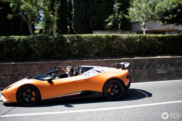 Lamborghini Huracan Performante Spyder spied testing side profile