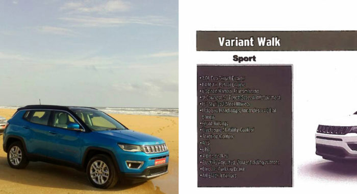 Jeep Compass Brochure Leaked : Variant Details, Features And Tech Specs