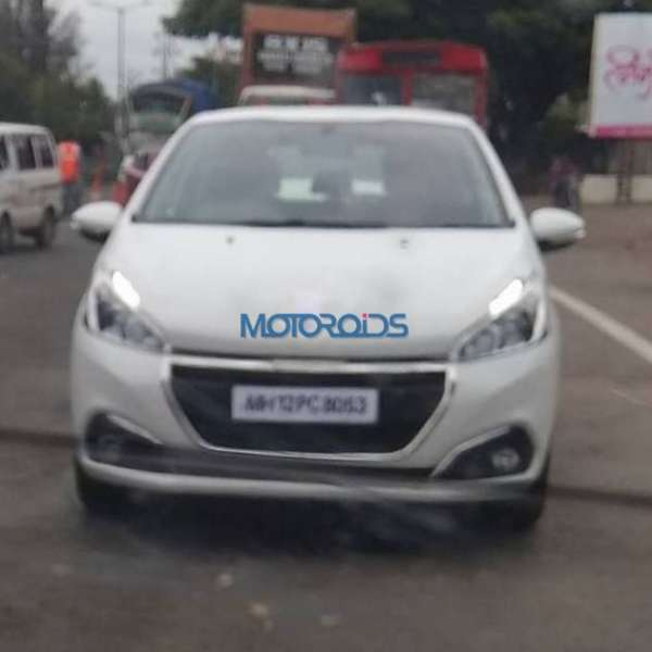 Peugeot 208 spied testing in India front fascia