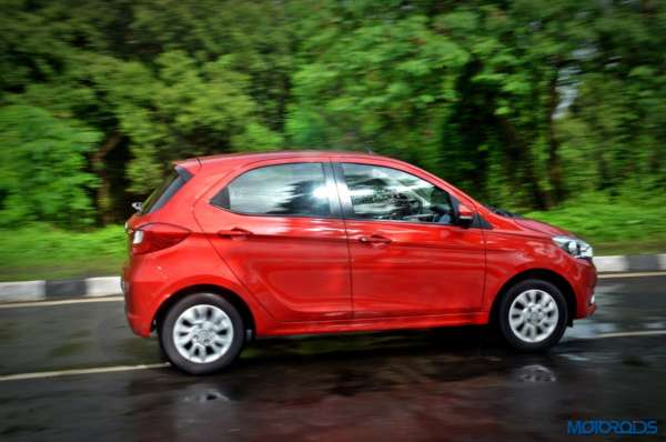 Tata Tiago AMT action shot side