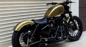 Based on a Royal Enfield, the Drona's a Gold Finished Madonna